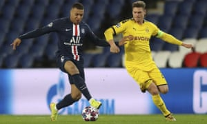 Kylian Mbappé (left) and PSG might have to play the remainder of their Champions League campaign outside of France.