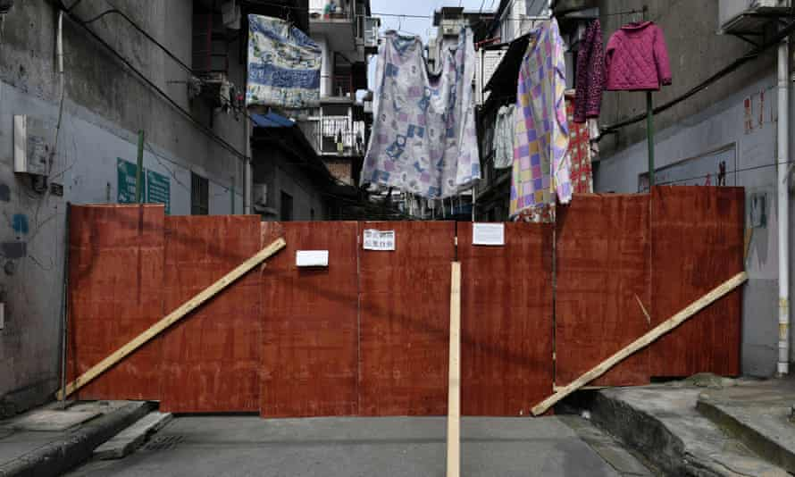 A residential area blocked off in Wuhan. Some references to the city have been blocked on social media in China.