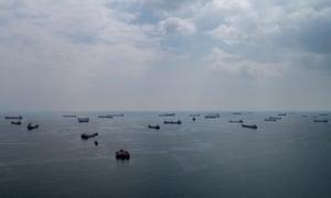 Cargo ships wait offshore in Turkey's Marmara sea, near Istanbul.
