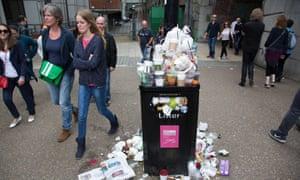 An overflowing bin in London.
