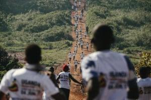 Crowds run the Ugandan marathon