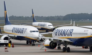 ryanair planes taxi on the runway