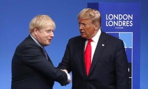 Boris Johnson shakes hands with Donald Trump