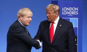 Boris Johnson shakes hands Donald Trump