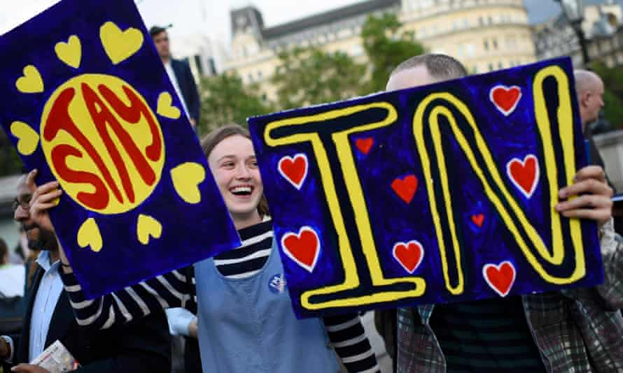 A young woman joins the 'Yes to Europe' rally for young people, in central London.