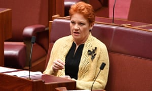 One Nation leader Pauline Hanson in the Senate on Wednesday. Her motion 'to facilitate the building of new coal-fired power stations' was defeated 34-42.