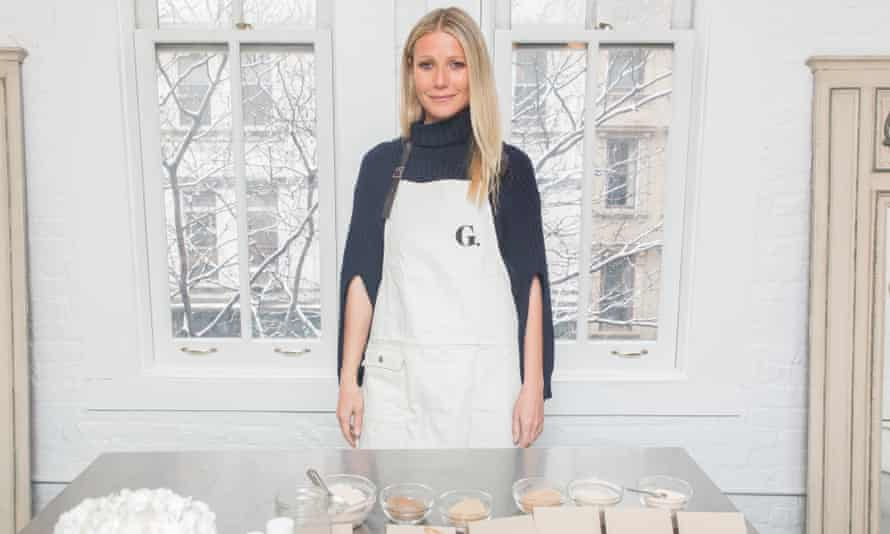 Gwyneth Paltrow with Goop skincare products.