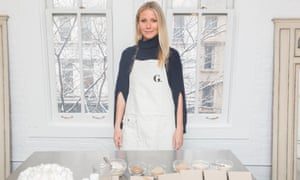 Gwyneth Paltrow with Goop products