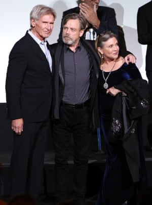 Actors reunited - Harrison Ford, Mark Hamill and Carrie Fisher attend the Premiere