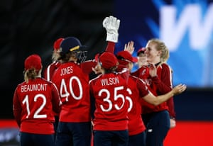 Sarah Glenn of England celebrates after taking the wicket of Omaima Sohail of Pakistan.