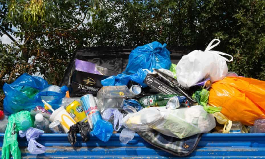 rubbish in a bin