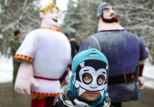 A boy in costume takes part in a charity running event during Halloween celebrations in Kuzminki Park, Moscow.