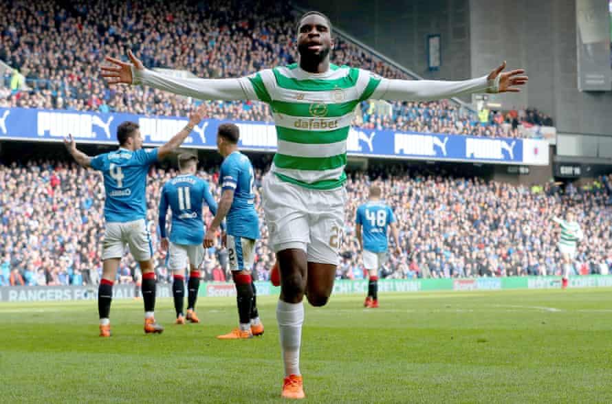 Odsonne Edouard celebrates after scoring Celtic's winner at Rangers on Saturday.