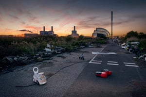 Fly-tipped waste including asbestos, toxic chemicals and other harmful pollutants dumped outside Seabank Power Station, Avonmouth.