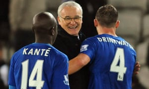 Claudio Ranieri with Danny Drinkwater and N'Golo Kanté, two players whose stellar performances this season forced the Leicester manager to adjust his plans.