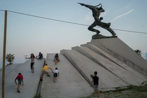 Seaside statue. I'm a photographer from Ljubljana, Slovenia, and recently visited Durrës, Albania's second largest city. Along the seafront, kids were playing on a statue commemorating Albanian resistance to the invasion by Mussolini's Italian forces on 7 April 1939. • Follow Jure on Instagram. • Follow Guardian Travel on Instagram, use the tag #guardiantravelsnaps