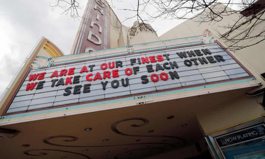 The Orinda Theatre closed to the coronavirus COVID-19 pandemic and the 'shelter-in-place' order in Orinda, California, this week.