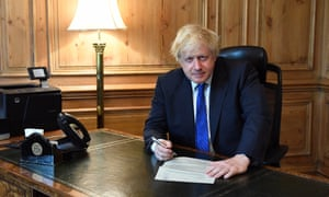 Boris Johnson writing his resignation letter at the foreign secretary's official residence.