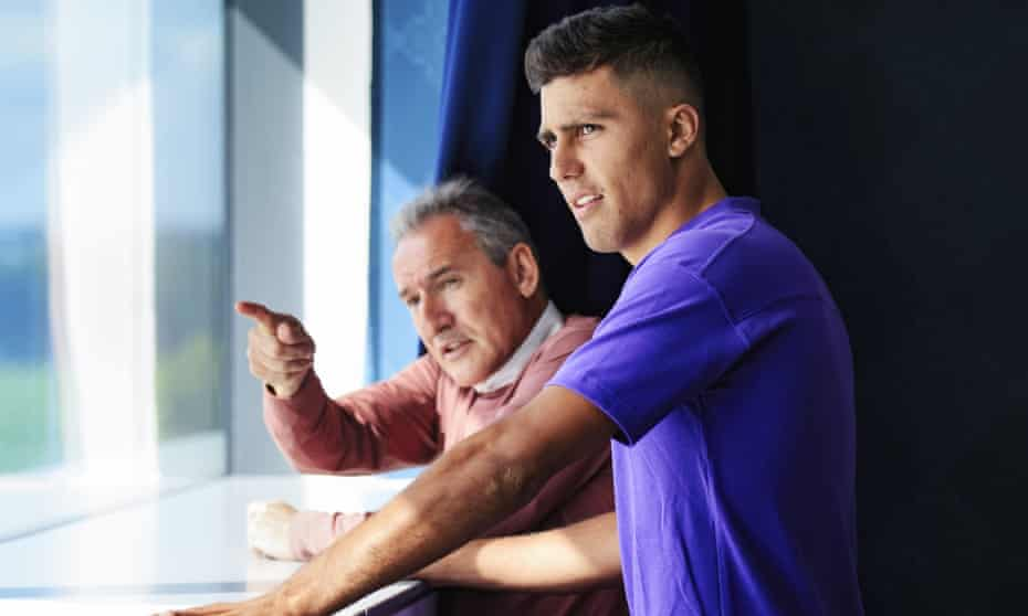 Rodri – who will actually have 'Rodrigo' on the back of his shirt at City – is shown around the training ground by director of football Txiki Begiristain.