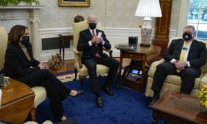 Vice-president Kamala Harris and President Joe Biden meet with labor leaders at the White House.