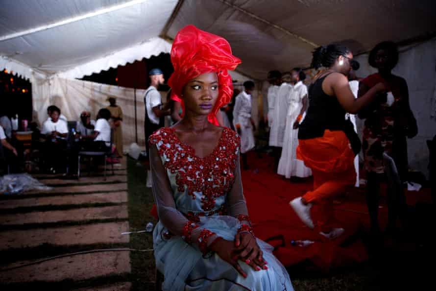 Model Nafissatou Gningue backstage at Dakar fashion week, July 2017