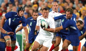 Steve Thompson in action for England against France at the Rugby World Cup in 2003.