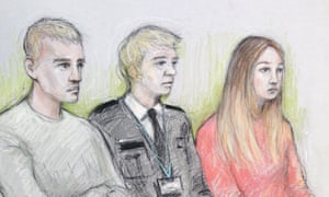 Court artist sketch of Jack Williams (left) and Kayleigh Woods at Warwick crown court