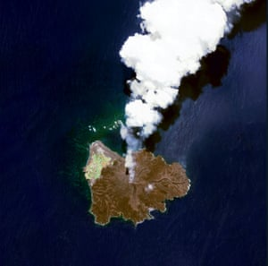 Nishinoshima volcanic island located 940 km (584 miles) south of Tokyo, Japan