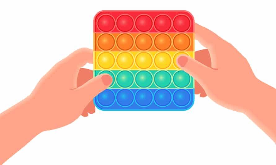 Thần tài đầy màu sắc đồ chơi chống trầm cảm cảm giác bật nó trong tay minh họa vector