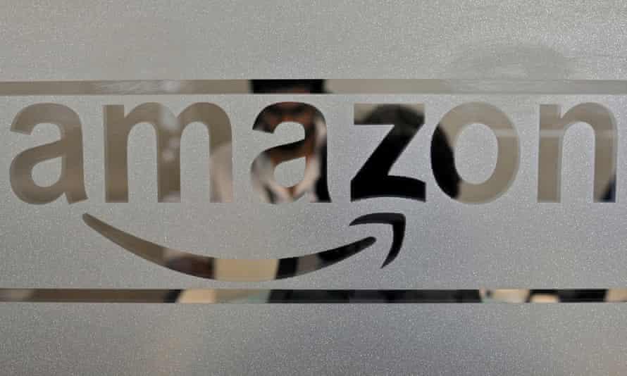 Amazon logo on glass door