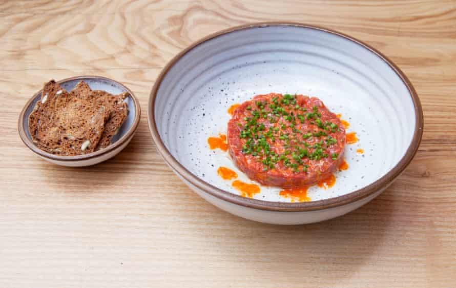 Beef tartare, Fenn restaurant, Fulham.
