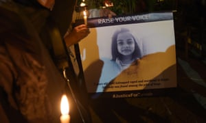 Activists hold a vigil for Zainab Ansari, seven, who was raped and murdered in Kasur, Punjab, in 2018