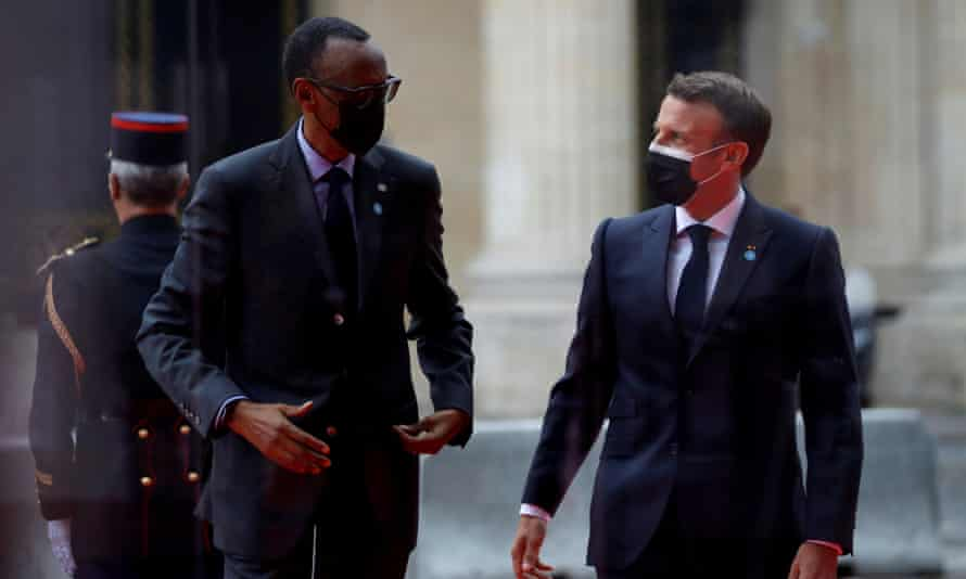 President Emmanuel Macron welcomes his Rwandan counterpart, Paul Kagame, as he arrives to attend a conference in support of Sudan in Paris, France, on 17 May 2021.