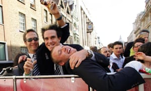 Michael Vaughan, Kevin Pietersen and Andrew Flintoff during the team's Ashes victory parade around London, Tuesday September 13, 2005.