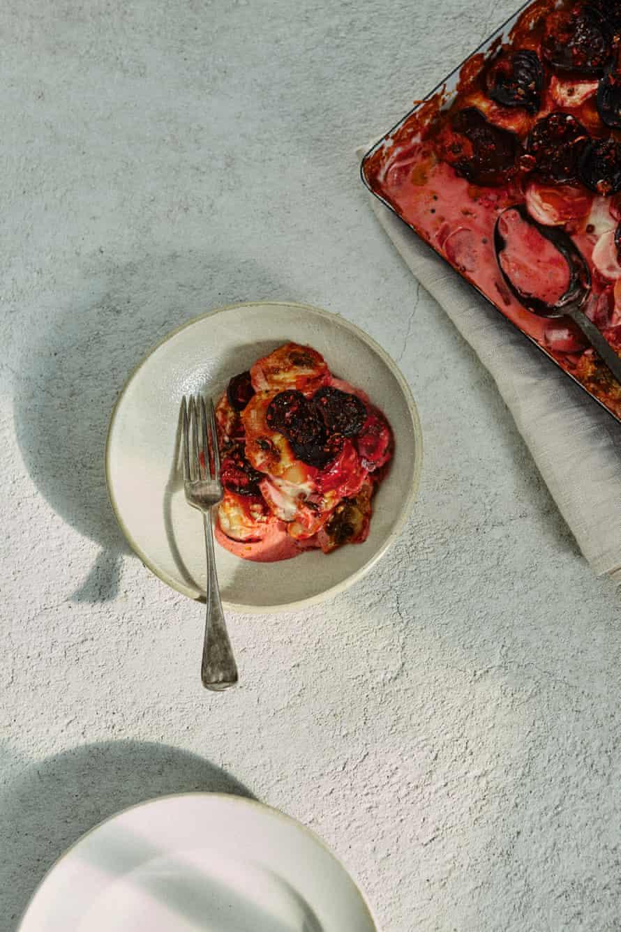 Beetroot, rhubarb and potato gratin