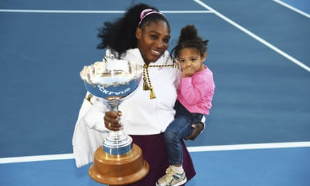 Serena Williams with her daughter and the ASB trophy after winning the final in January.