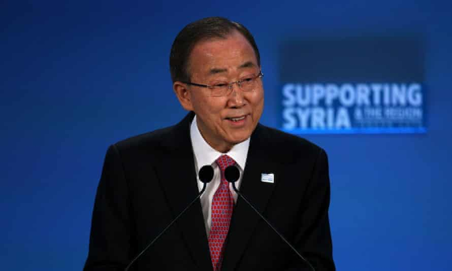 UN secretary general Ban Ki-moon speaks at the 'Supporting Syria and the Region' conference in London on 4 February.