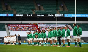 England and Ireland players line up ahead of kick-off.