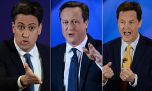 Ed Miliband, Nick Clegg, David Cameron during special BBC Question Time programme with the three main party leaders at Leeds Town Hall, West Yorkshire