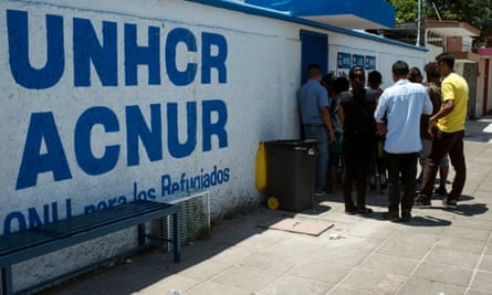 Migrants wait to be seen by UNHCR in Tapachula, Chiapas