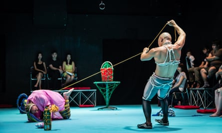 Luke George and Daniel Kok performing their shibari work, Bunny, at Substation in Singapore.