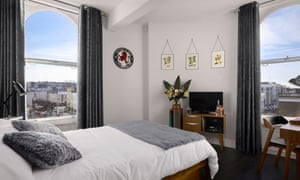 A double-bed room, with views out over west London, at The Distiller, Notting Hill, London.