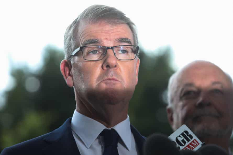 NSW Leader of the Opposition Michael Daley, talking in front of Allianz Stadium being demolished. Sydney, NSW. Australia. 19 March 2019.