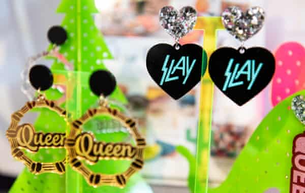 'Queen' and 'Slay' earring designs by Kristy Dickinson of Haus of Dizzy photographed in her studio, Melbourne, Australia, 2 October 2019.