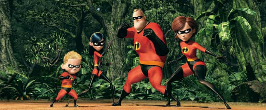 Dash, Violet Parr, Mr Incredible and Elastigirl in The Incredibles.