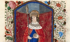 Among the 50 full-page illustrations, the royal connections of the book are clear in one showing Henry VI as a saint.