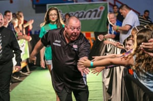 GibraltarMervyn King enters the arena before the start of a match at the the 2016 Gibraltar Darts Trophy