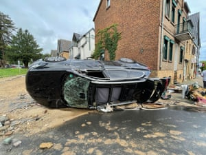 Roads, water pipes and walls were destroyed in Bad Münstereifel, Germany