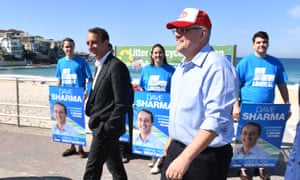 Dave Sharma and Scott Morrison during a visit to the North Bondi Surf Club during the Wentworth byelection campaign last year