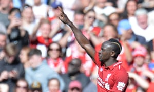Liverpool's Sadio Mane celebrates after scoring their second.
